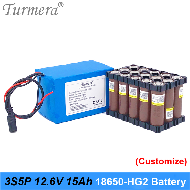 3S5P <font><b>12V</b></font> <font><b>15Ah</b></font> Rechargeable <font><b>Lithium</b></font> <font><b>Battery</b></font> Pack Use HG2 3000mAh <font><b>battery</b></font> with 40A BMS for uninterrupted power supply 10.8V 12.6V image