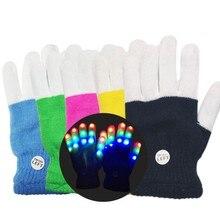 1 шт для детских праздников и Хэллоуина с изображением светодиодный перчатки Утепленная одежда перчатки светодиодный перчатки 7 светильник режимов палец светильник пальчиковые игрушки, принадлежности для вечеринок