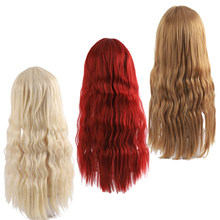"Allaosify Long Black Wig Deep Wave High Temperature Fiber Middle Part 26"" 120% Heavy Density Synthetic Wigs for Women Brown Red(China)"