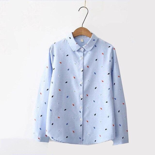 Print Shirts Women Tops 2020 Autumn Clothes Plus Size Loose Pink Blusa Feminina  Long Sleeve Women Blouse Cotton Blouses SL87 3