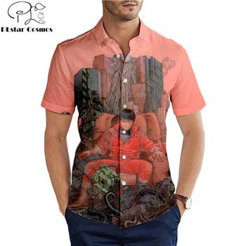 Hawaiian beach summer Fashion Short sleeve shirt Akira Kaneda Neo Tokyo Anime Print 3d Mens Shirt Harajuku Casual Tee shirts лонгборд penny neo tokyo 22