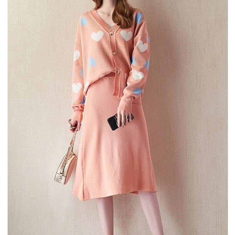 WOMEN'S Dress Delicate Knitting Suit Heart Jacquard Cardigan Tops + High-waisted A- Line Skirt 2019 Autumn Ozhouzhan