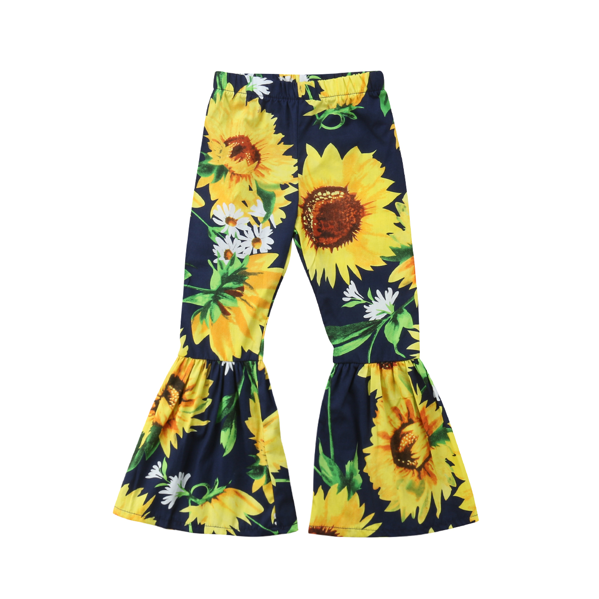 Lovely Children Baby Girls Sunflower Flare Long   Pants   Bell-Bottom Trousers Cotton Kids Baby Girls Clothing