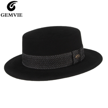 GEMVIE шерстяная шляпа с каймой плоскя Корона войлочная одежда для женщин/для мужчин, осень, зима шляпка для церкви с черным ремешком
