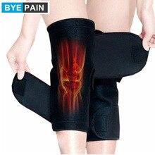 Купить с кэшбэком 1Pair Tourmaline self heating kneepad Magnetic Therapy knee support tourmaline heating Belt knee Massager