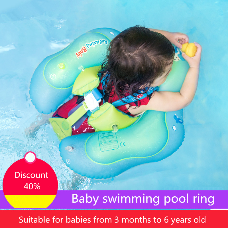 Baby Swimming Pool Accessories Cartoon PVC Infant Swimming Inflatable Ring Baby Float Safety Strap Swim For Summer Accessories