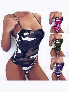 Camouflage Bikini Jumpsuit Sling Women's Swimwear Beach-Essential One-Piece Slim Suspenders