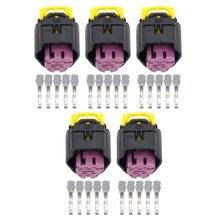 5 контактный черно фиолетовый пластиковый разъем с клеммой Φ