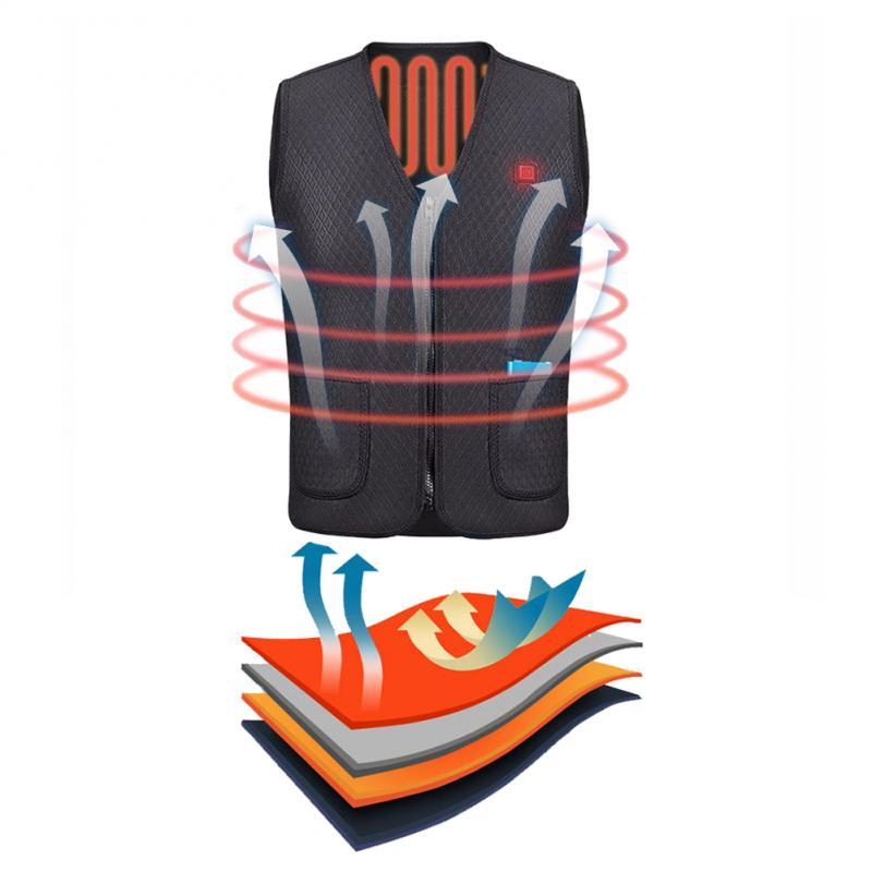 Électrique USB hiver chauffé gilet chaud hommes femmes chauffage manteau veste vêtements gilet