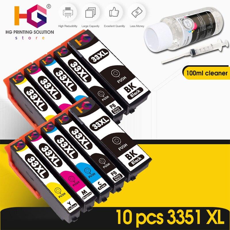 10 шт. 33XL чернильный картридж для Epson XP-530 / 630 / 830 / 635 / 540 / 640 / 645 / 900 T3351 совместимый принтер чернил + очиститель