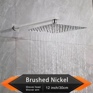 """Image 4 - Rozin Gebürstet Goldene Regen Dusche Kopf Badezimmer 8/10/12 """"Ultradünne Stil Top Dusche Kopf mit Wand Montiert Dusche arm"""
