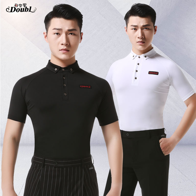 Doubl Dance Practice Ballroom Standard Modern Tops Adult New Latin Dance Costumes Men Short Sleeve Button T Shirt White Black