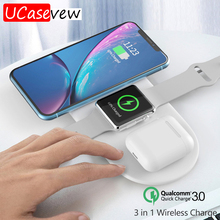 Qi Wireless Charging Pad 10W Quick Charge for iPhone 11 Pro Xs Max USB Wireless Watch Charger for Apple iWatch 2 3 4 5 iPods Pro