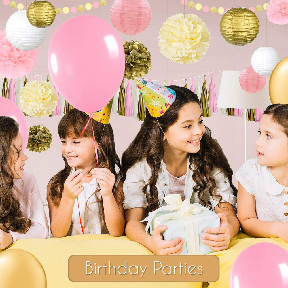 1 Set Baby Shower Birthday Wedding Party Decoration Circle Garland Latex Balloons Tissue Paper Poms Tassels Lanterns Confetti