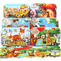 Holz Puzzle 60Pcs Spielzeug für Kinder Holz Puzzle Baby Pädagogisches Weihnachten Geschenk Cartoon Tier Puzzle Box Montessori Material