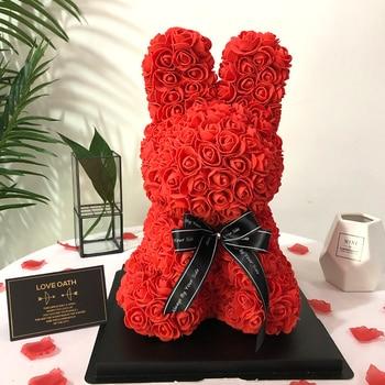Creative Tanabata Valentine's Day Simulation Flower Eternal Flower Foam Rabbit Rose Rabbit Gift Box Wedding Gift Decoration