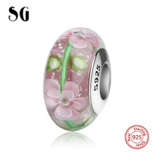 SG vintage flowers sparkling Murano glass beads sterling silver 925 charms fit original European bracelets jewelry findings gift mistletoe jewelry 925 sterling silver large hole light blue 3d flowers murano glass charm bead fit european bracelet