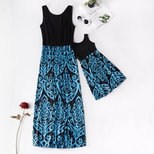 Black Long Dress Family Look Fashion Dresses for Mother Daughter Floral Girls Dress Family Matching Mommy and Me Clothes Outfits brand children holiday beach dress family look matching outfits mommy and me girl clothes mother and daughter summer party dress