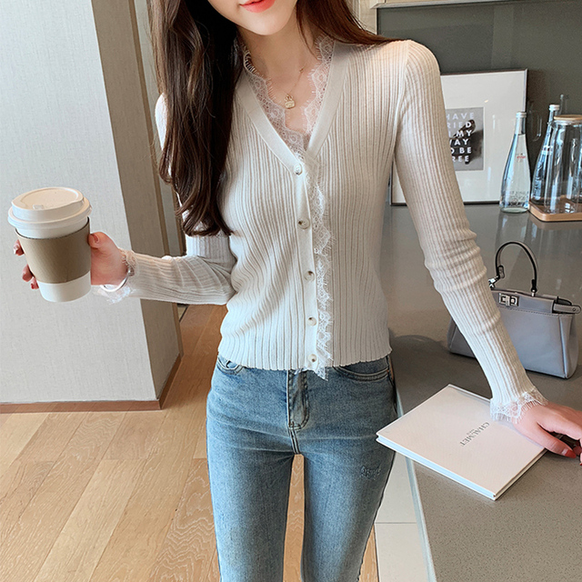 Ailegogo New Spring Women Cardigans Casual Female Lace V-neck Single Breasted Knitted Sweater Korean Style Slim Knitwear Tops 1
