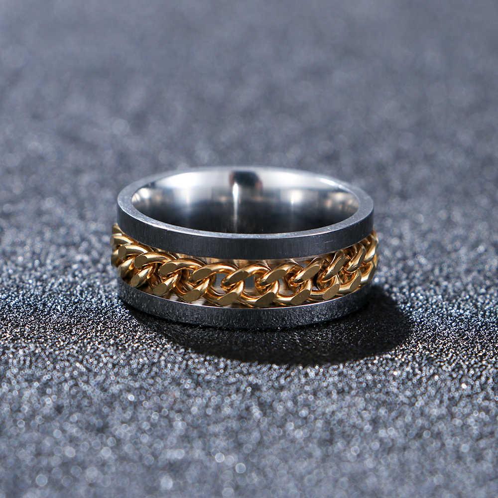 ผู้ชายสแตนเลส Punk ROCK SPINNER แหวนทองสีดำโซ่หมุนแหวนขนาด 6-12