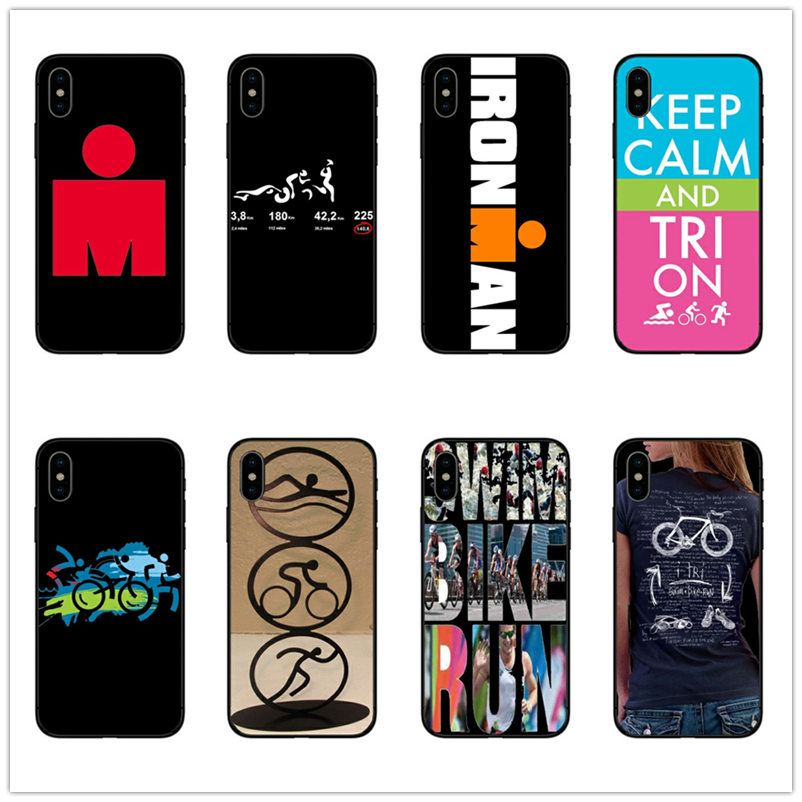 Ironman Triathlon Logo Swim bicycle marathon Back cover for iPhone 6 6s 7 8 Plus 5 5s se X XS MAX black TPU Silicone Phone cases