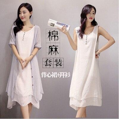 Summer Long Skirts Cotton Linen Dress Literature And Art Retro Two-Piece Set WOMEN'S Suit Flax Suit 2-27