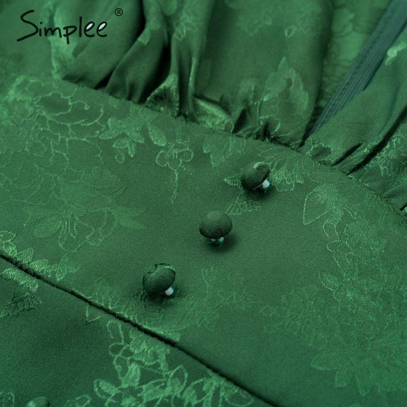 Image 5 - Simplee Sexy v neck short party dress Lantern single breasted a line mini dress Green ribbon ladies streetwear long sleeve dressDresses   -