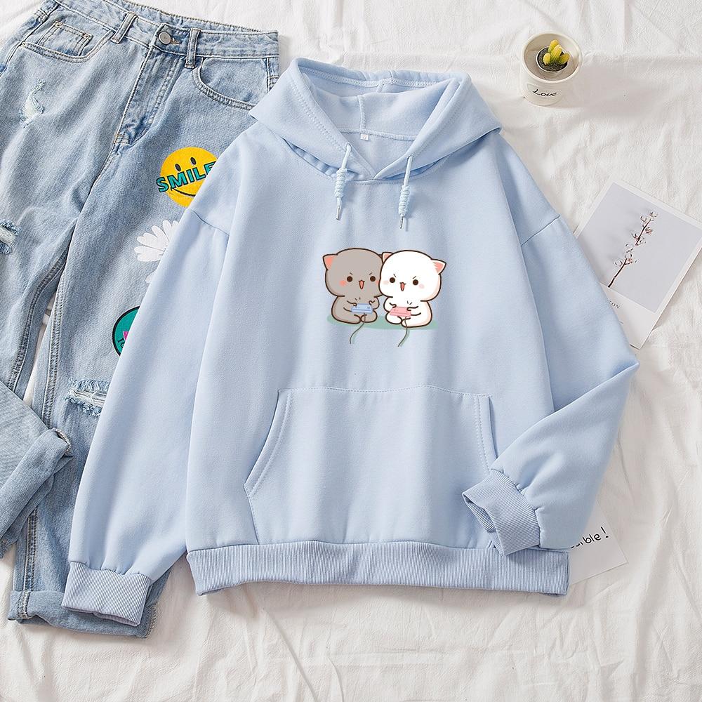 Cute Cat Printed Hoodies Women Autumn Loose Sweatshirt Female Itself Harajuku Kawaii Hooded Pullover Thicken Couple Coat 9