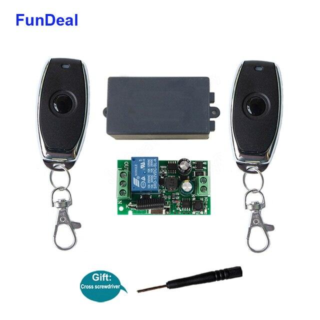 FunDeal 433 Mhz universel sans fil télécommande commutateur AC 110V 220V Code dapprentissage 1CH RF relais récepteur lampe contrôleur de lumière