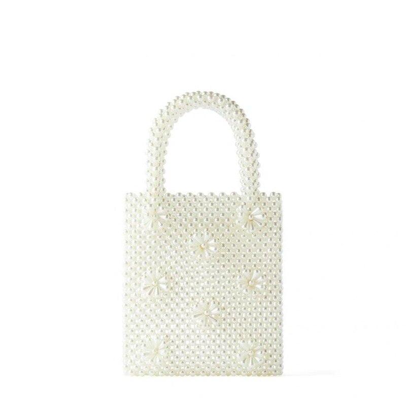 ZA New Pearl Straw Bag Portable Beaded Hand-woven Bag Ladies Hand Bags