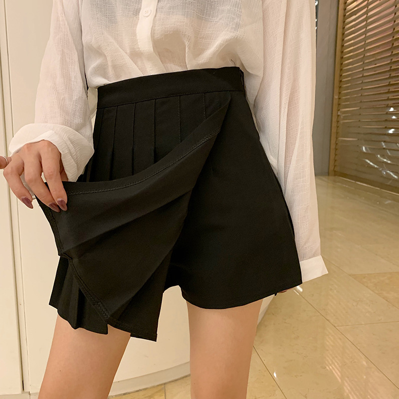 Spring And Summer New Style Irregular Skirt Women's Vintage Hong Kong Flavor Elegant Solid Color High-waisted A- Line Sheath Ple