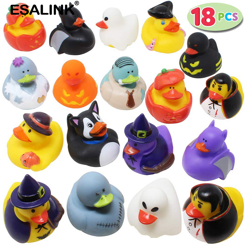 ESALINK 18Pcs Pumpkin Bat Shape Halloween Ducks Floating Squeeze Sound Toy Baby Bath Duck Theme Party Stage Rubber Duck