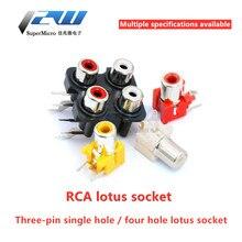 5 pçs/lote 3.5mm único furo/4 buraco rca estéreo fêmea áudio jack av interface de entrada áudio lotus linha amplificador sinal conectio