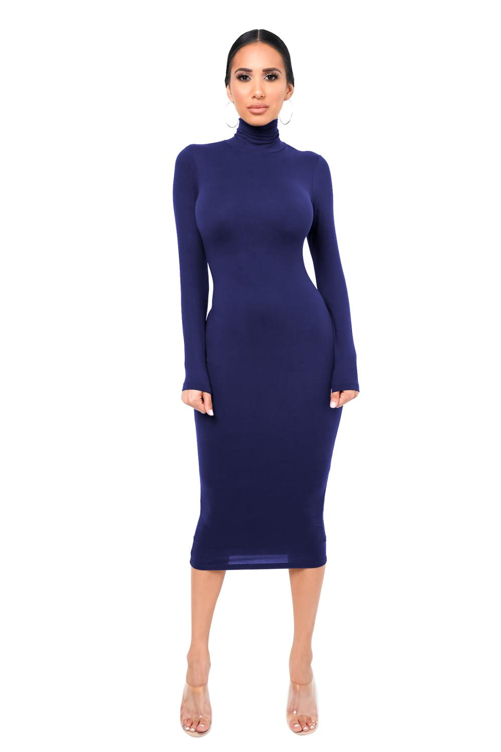 Sexy Women Long Sleeve Turtleneck Bodycon Dress Autumn Winter New Solid Casual Slim Package Hip Thick Fashion Party Vestidos