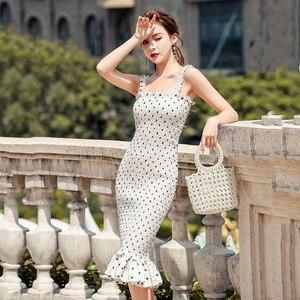 Женские летние сексуальные платья, корейские вечерние винтажные платья-комбинация, женское элегантное платье в горошек с оборками, женское...