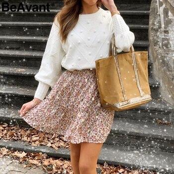 BeAvant Knitted winter sweater women pullover Lantern sleeve ladies sweaters female Minimalist pull femme sweet white jumper