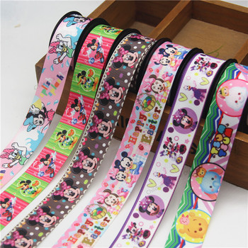 10 Yard 25mm Disney Mickey Mouse Printed Grosgrain Ribbon DIY Handmade Bow Hair Accessories Ribbon Cake Decoration Gift Wrapping 50 yards gradient rainbow grosgrain ribbon gift box flowers perfume red wine decoration apparel sewing diy bow ribbon