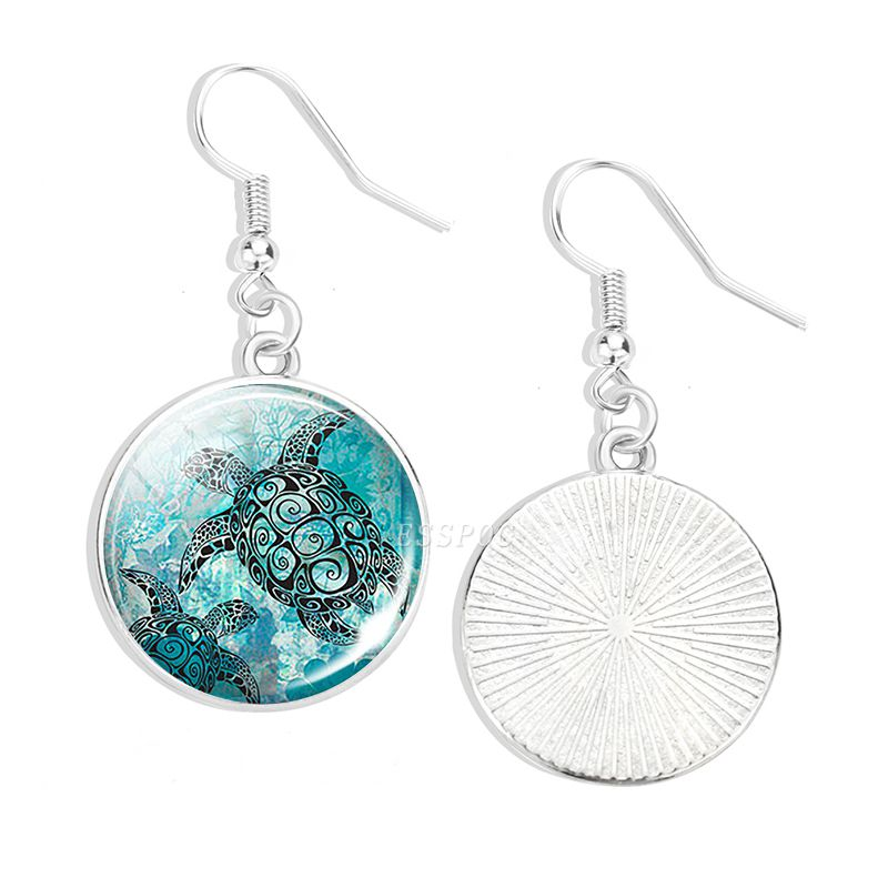 Hook Earring Sea Animals Jewelry Turtle Starfish Jellyfish Glass Cabochon Pendant Earring For Women Gifts
