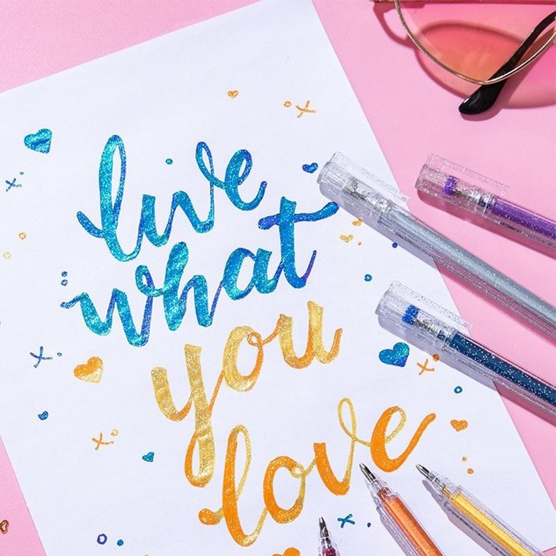 Hot Sell 1.0mm Glitter Pens Kid's Flash Gel Pen DIY Drawing Graffiti Pen Stationery Black Paper Writing Pen  School Supplies