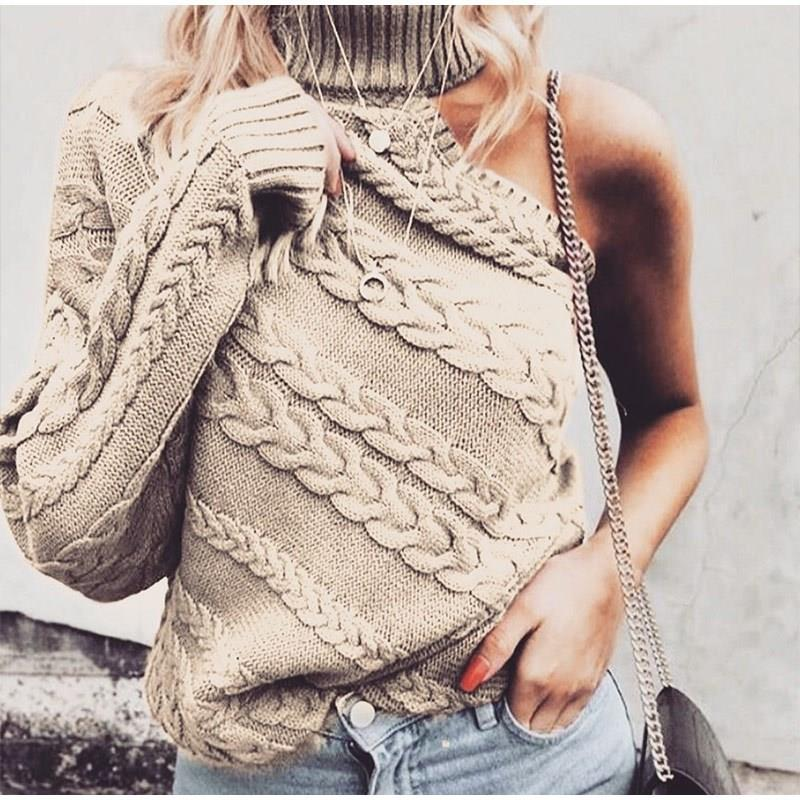 Sexy One Shoulder Twist Knitted Sweater Women  Long Sleeve Turtleneck Sweaters Autumn 2019 White Vintage Pullover