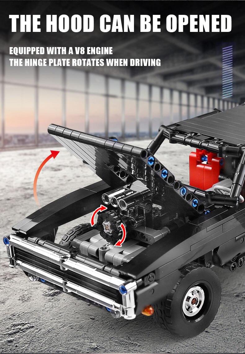 MOULD KING 13081 MOC 17750 Technic Ultimate Muscle Car Building Block (1098PCS) 7