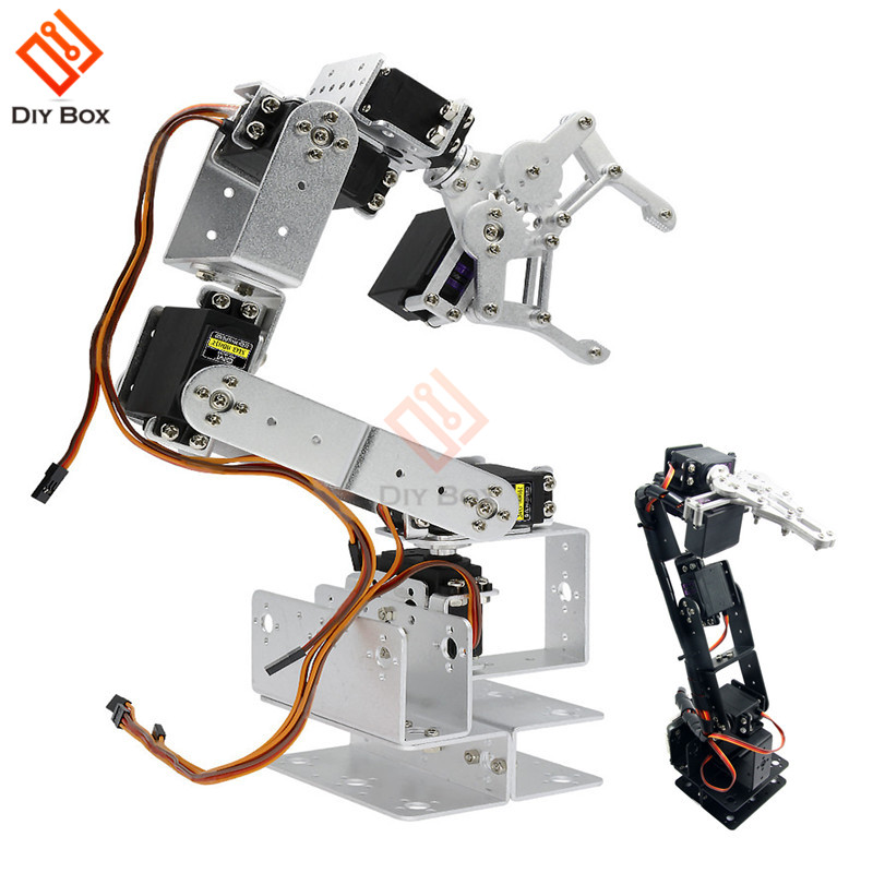 6DOF Aluminium Robot Arm Clamp Claw Manipulator Mechanical Clamp Claw kit <font><b>Bracket</b></font> Black Silver For <font><b>Arduino</b></font> Robotic Education image