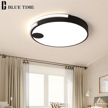 Round LED Ceiling Lights For Living Room Bedroom Dining Room Kitchen Black/White Color Surface Modern Ceiling Lamps Home Lights