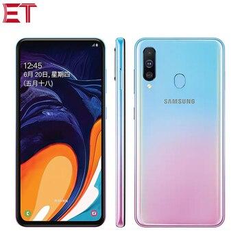 Перейти на Алиэкспресс и купить Новый мобильный телефон Samsung Galaxy A60, 6,3 дюйма, 6 ГБ ОЗУ 64 Гб/128 Гб ПЗУ, Восьмиядерный процессор Snapdragon 675, 32,0 Мп + 8 Мп + 5 Мп