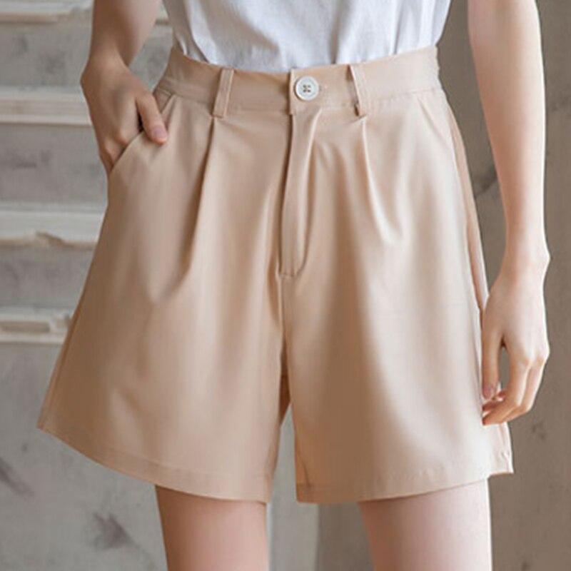 4XL Women Chiffon Wide-leg  Shorts Female High-waisted Solid Casual Pocket Short 2020 Summer New Fashion Office Lady Clothes