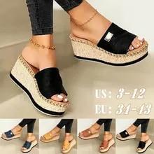 Platform Mules Sandal Slipper Casual-Shoes Summer Wedges Thick-Bottom High-Heels Ladies