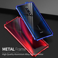 Capa traseira para xiaomi mi 9 t pro  capa de metal transparente de vidro para celulares xiaomi mi 9 t mi9 t luxo à prova de choque