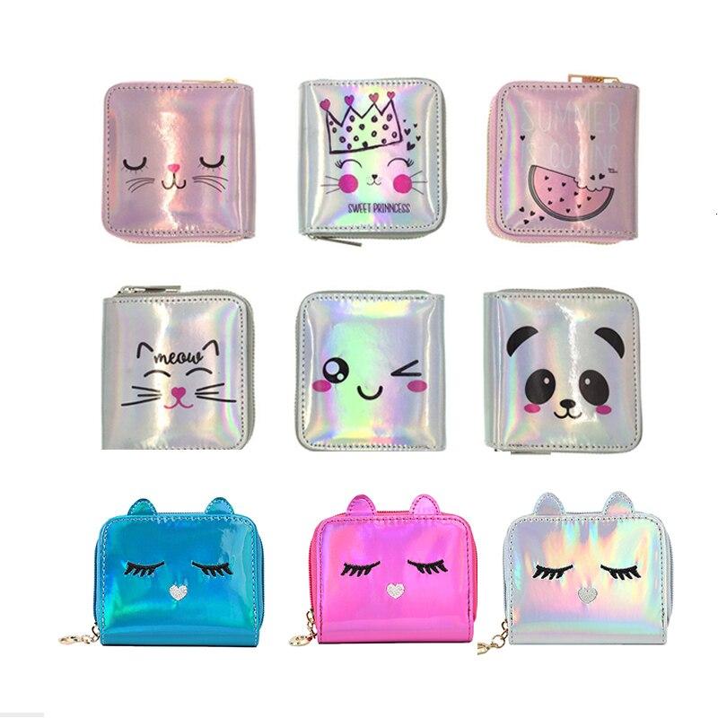 New Fashion Women Sweet Cute Ladies Girls Kids Coin Purses PU Hologram Wallet Laser Clutch Purse Silver Bag Mini Small Coin Bags