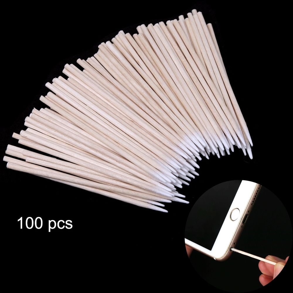 100 Pcs/pack Mobile Phone Charge Clean Cotton Swab Port Jack Earphone Hole Dust Removal Cleaning Tools Disposable Cotton Sticks