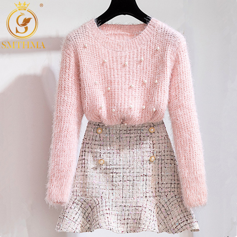 2019 New Autumn Winter Two Piece Set Women Elegant Beading Knitted Sweater+High Waist Tweed Plaid Mermaid Skirt Ladies Outfits